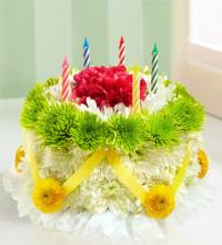 Birthday Flower Cake - Green and Yellow