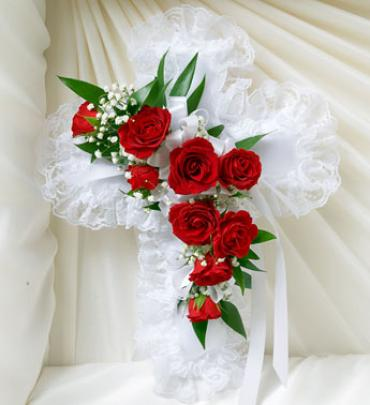 Red and White Satin Cross Casket Pillow