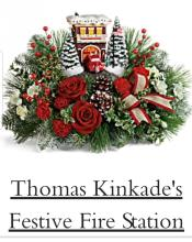 Thomas Kincade Festive Fire Station