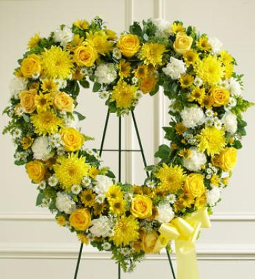 Yellow and White Standing Open Heart