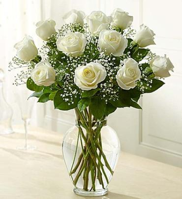 "Rose Eleganceâ""¢ Premium Long Stem White Roses"