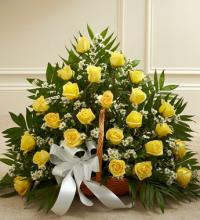 Yellow and White Rose Fireside Basket