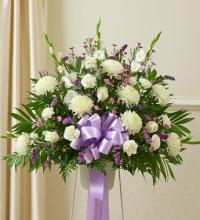 Lavender and White Sympathy Standing Basket
