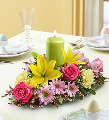 Spring Centerpiece with Pillar Candle