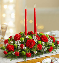 Green and Red Christmas Centerpiece