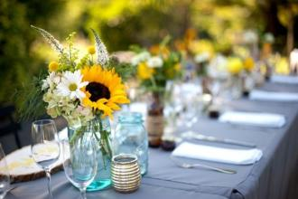 Reception Sunflowers in Mason Jars