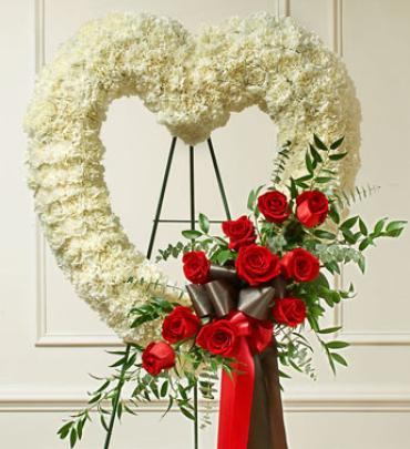 Red and White Open Heart with Red Roses